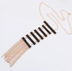 Trendy-black-ladder-long-tassel-statement-necklace